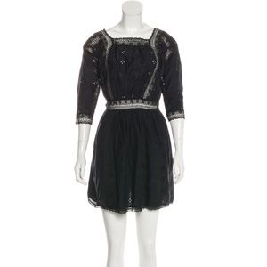 Ulla Johnson eyelet black mini dress with elastic